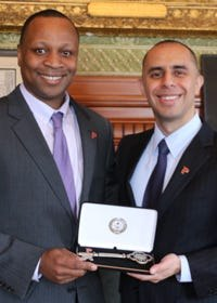 Michael Stevens, left, was promoted to recreation director byMayor Jorge O. Elorzain 2015, above. Now Stephens will be promoted to the Providence Police Department as a civilian major responsible for community relations and diversion.
