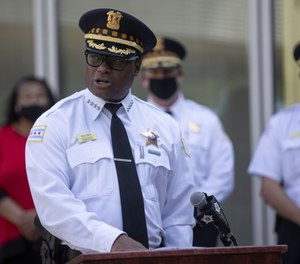 Chicago police Superintendent David Brown discusses the expansion of the community safety team during a news conference outside the Chicago Police Department 5th district station on Sept. 21, 2020.