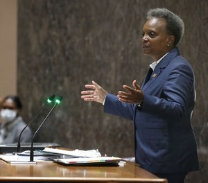 Mayor Lori Lightfoot delivers her budget address speech during a City Council meeting at City Hall, Sept. 20, 2021.