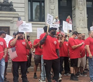 Police and fire unions from around New Jersey rallied in front of Newark City Hall on Wednesday, Sept. 8, 2021 against Mayor Ras Baraka's vaccine mandate for public employees.