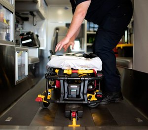 Erik Sonnenberg, a paramedic with Tualatin Valley (Ore.) Fire and Rescue, prepares an ambulance for inspection at their Newberg location.