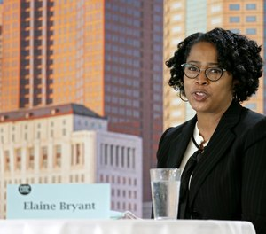 Chief Elaine Bryant speaks to the press in Columbus, Ohio, on Wednesday, October 6, 2021.