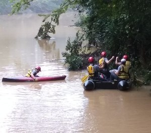 Hoover police and firefighters have been searching Thursday for a couple believed to have been swept away in flood waters.