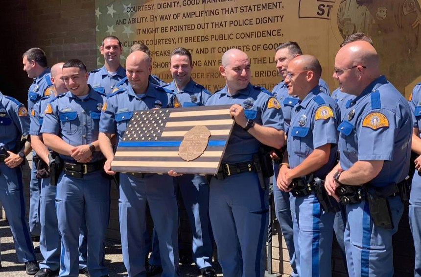 Washington State Patrol's 114th basic academy class receives a memorial flag to remember Trooper S. Renee Padgett.On September 4, 2018, Trooper Padgett lost her battle with a rare blood cancer.