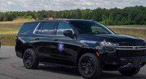 A low profile Arkansas State Police patrol vehicle.