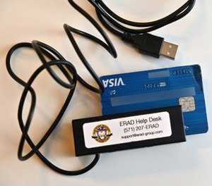 An ERAD card reader is designed for officers to check prepaid debit cards containing potential criminal funds.
