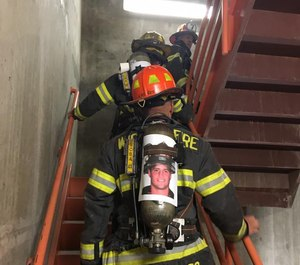 Each stair climb participant is making the trek in honor of the 343 New York Fire Department members who lost their lives on Sept. 11, 2001.