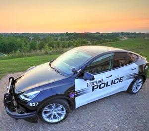 A Tesla Model Y is ready for patrol in Eden Prairie, Minn.