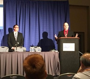Chris Peters and Josh Hans share social media top tips at the IACP conference. (Photo/Parker PD Facebook page)