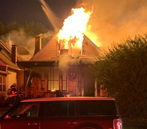 At9:35 p.m., a mayday was issued after five firefighters fell through the second floor of the home, dropping about 10 feet to the first floor, according to IFD BattalionChiefRita Reith. They landed near the front door of the structure and were quickly accounted for.
