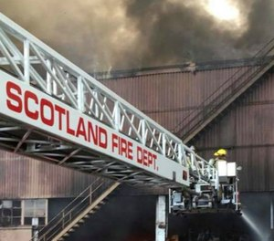 """""""It's not something we're used to,"""" Scotland Fire Marshal Dana Barrow said. """"All of the chickens running around and dogs running around while they were fighting the fire was interesting."""" (Photo/Scotland Volunteer Fire Department)"""