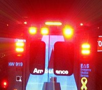 Pedestrian suffers head injury after being hit by NY county ambulance