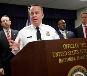 In this Wednesday, March 1, 2017, file photo, Baltimore Police Department Commissioner Kevin Davis speaks at a news conference in Baltimore to announce that seven Baltimore police officers who worked on a firearms crime task force are facing charges of stealing money, property and narcotics from people over two years. (AP Photo/Patrick Semansky, File)