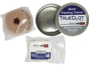 "The TrueClot Basic Packing Trainer includes a piece of silicone ""tissue"" with a simulated gunshot wound and training-grade gauze."