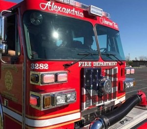 Two Alexandria firefighters were injured battling a blaze at an unoccupied home after the ceiling collapsed. One firefighters sustained an arm injury and the other was concussed.