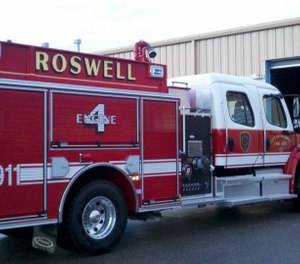 State police and officials with the city of Roswell say the blast happened around noon Wednesday at the Roswell International Air Center as firefighters were boxing fireworks for an upcoming Fourth of July show. (Photo/City of Roswell Fire Department)