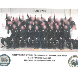 """The photo, an official one for the class, includes the caption """"Hail Byrd!"""" – Byrd being the name of their primary academy instructor."""