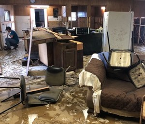 The Pollocksville Volunteer EMS station building was gutted, an ambulance was totaled and medical supplies were ruined by floodwaters.