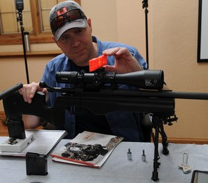 Curtis is mounting the scope using Steiner's T-Series Rings.