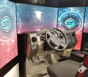 Situated in a long, enclosed tractor-trailer, the simulator is from the College of Eastern Idaho's Fire Service Technology program and is intended to give new recruits experience driving large emergency vehicles without any risk. (Photo/Fire Service Technology Facebook)