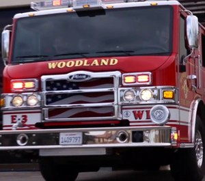 Police say a man attacked one or more Woodland Fire Department firefighters with a camping tent pole after refusing to get out of an intersection. (Photo/Woodland Fire Department)