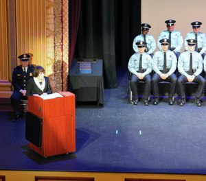Dr. Kathy Platoni delivers the commencement speech to the Dayton (Ohio) Police Academy Class 108. (Photo/Dayton Police Department)