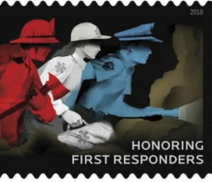 The stamp depicts a firefighter, paramedic and police officer in red, white and blue.