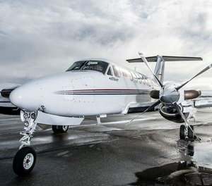 A Guardian Flight Beechcraft King Air B200, similar to the air ambulance that crashed in January 2019.