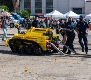 The Los Angeles Fire Department introduced its new firefighting robot at a press conference Tuesday. RS3 can blast 2,500 gallons of water or foam per minute and is designed to battle fires in areas too dangerous for firefighters. (LAFD Photo/Gary Apodaca)