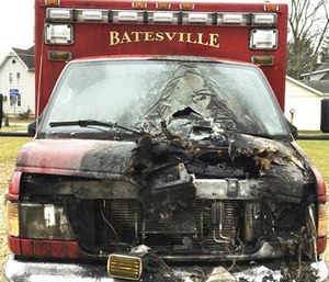 Officials said an engine fire in the Batesville Fire & Rescue ambulance caused the blaze while it was parked at the station.