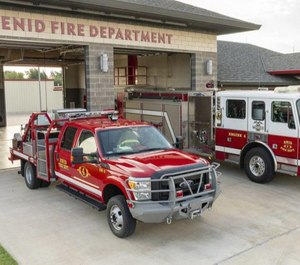 The grass rigs, with platforms built on full-sized pickups, are cheaper to maintain, fuel and replace. (Photo/Enid Fire Department, Fire Marshal Ken Helms)