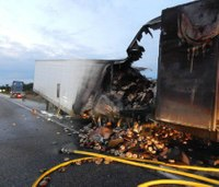 Semi carrying 38,000 pounds of bagels catches fire on Ind. highway