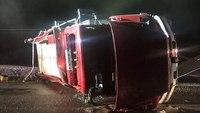 Ind. firefighter injured in rollover tanker crash