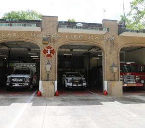 A Mobile fire captain was stabbed in the hand at a fire station while trying to stop a man who was threatening another firefighter, officials say.
