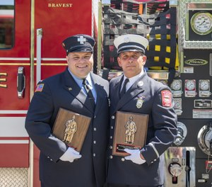 Cross and Arone received the award at a ceremony held during the annual Firefighter Memorial Sunday exercises at Saugus Fire headquarters on Sunday, June 9. (Photo/Saugus Firefighters Local 1003)