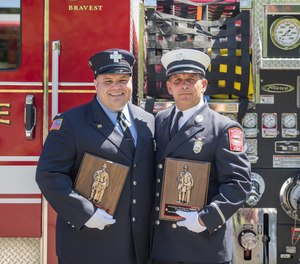 Cross and Arone received the award at a ceremony held during the annual Firefighter Memorial Sunday exercises at Saugus Fire headquarters on Sunday, June 9.