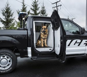 A space in the back of the cab can be converted into a kennel for K-9s. (Facebook Image)