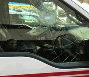 A Cincinnati Fire Service ambulance was parked at a curb when Bruce Diamond allegedly threw a rock at the window. (Photo/Cincinnati Police Dept.)