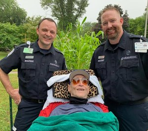 His care team said he had not been out in eight years and he had not felt the rain on his face for that long. (Photo/Mary Greeley Paramedics)
