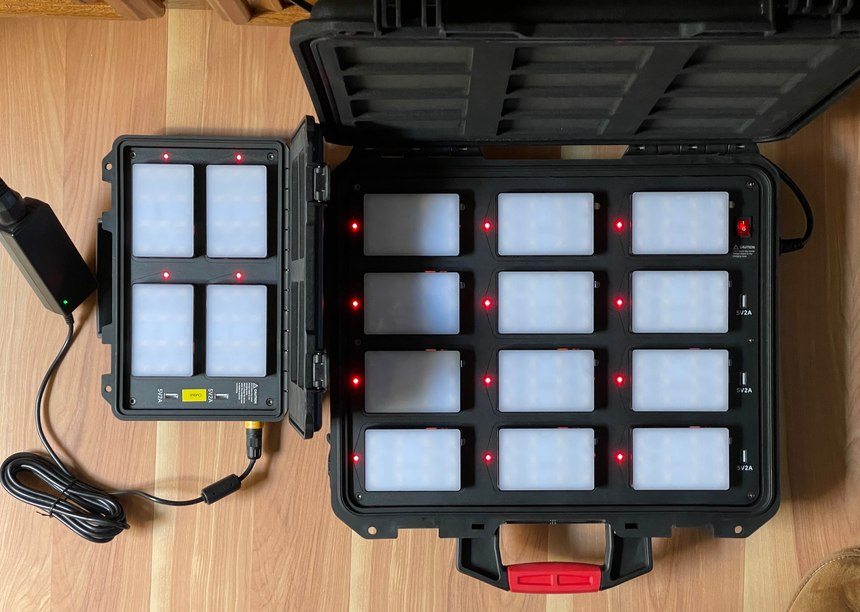 The LEDs turn green when a light is fully charged. If you don't need to use all of the lights at the same time, you can rotate them through the charger.