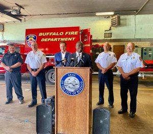 Mayor Byron W. Brown announced the grant win along with Fire Commissioner William Renaldo and Congressman Brian Higgins, D-Buffalo. (Photo/Mayor Byron W. Brown, Facebook)