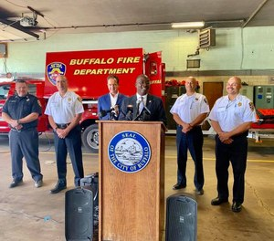 Mayor Byron W. Brown announced the grant win along with Fire Commissioner William Renaldo and Congressman Brian Higgins, D-Buffalo.