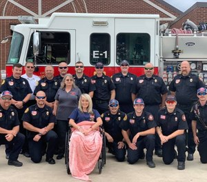 Paramedic Heather Haynes was hit by a black Ford Mustang in August 2019 as she was exiting the back of a rig, pinning her between the two vehicles. She has undergone six surgeries and had part of her leg removed. (Photo/Davidson County Rescue Squad)