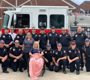 Paramedic Heather Haynes with members of the Lexington Fire Department after a visit and lunch with her colleagues. (Photo/Lexington Fire Department)