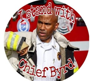 "Toledo Firefighters Local 92 President Dan Desmond said they did not authorize the post of a photo with the phrase ""I stand with Chief Byrd"" that has been shared among social media accounts of first responders. (Photo/Facebook)"