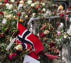 Flowers and Norwegian flags outside the court house where the killer was being tried on May 3, 2012 for the July 22, 2011 massacre.