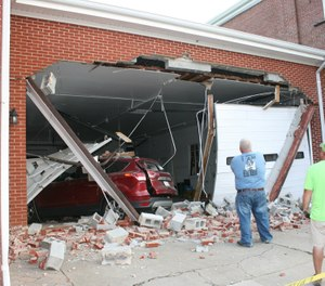 Betty T. Miller, 76, may have had a medical emergency when she crashed her SUV into the fire station leaving extensive damage. (Photo/Mineral Volunteer Fire Department)