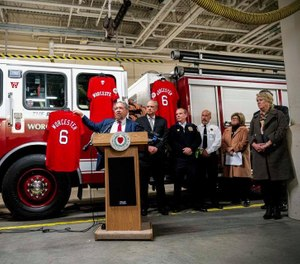 No player for the Worcester Red Sox will ever wear No. 6 as the team announced the number would be retired to honor those firefighters who died 20 years ago inthe Worcester Cold Storage and Warehouse Co. fire. (Photo/Polar Park)