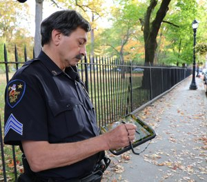 Sgt.Carello shows how his department uses Zebra R12 Tablets for traffic checkpoints and accident reporting outside if the vehicle.