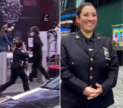 Watch: NYPD cop sprints through Times Square with 4-year-old shooting victim